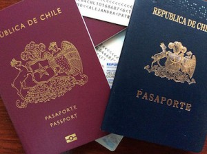 Chile Passports with photo examples in background