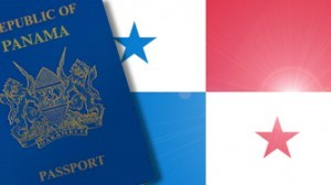 Panama Passport book and photo with Panama flag